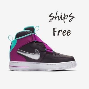Nike Air Force 1 Highness Black and Purple Sneaker